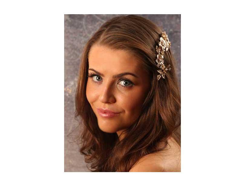 gold flower leaf tiara comb